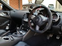 370Z, Juke- re-profiled + flat bottom, black alcantara 9040 sides, smooth leather top-bottom + red centre band, red stitching 2.jpg