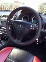 C55 W203 SLK 55 W171 AMG - Slighlty thicker , Perforated leather sides, smooth top-bottom, Red stitching
