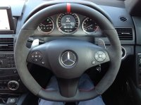C63 AMG - Dark grey alcantara 9002 on sides, Smooth leather TopBottom + Red band at 12 oclock, Red stitching 1