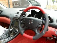 R230 SL350SL-Reprofiled+Flat bototm, Perforated leather on sides, Red smooth top-bottom + red and black stitching 2