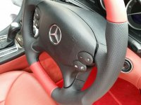 R230 SL350SL-Reprofiled+Flat bototm, Perforated leather on sides, Red smooth top-bottom + red and black stitching 3