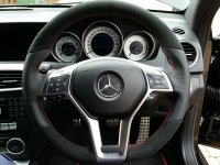 W204 amg - Slightly thicker, Perforated leather on sides, Black alcantara top-bottom, Red stitching 1