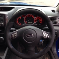 Impreza 2010 VRX-S - thicker, thumb grips added, perforated sides, black alcantara topbottom, blue 1318 stitching 1