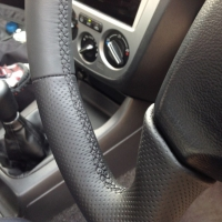 Impreza mk2 2003 4-spoke - slighlty thicker, perforated sides, nappa top-bottom, black stitching 2