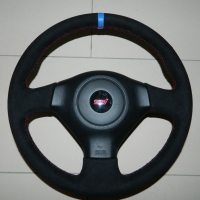 Subaru - pedded, alcantara 9040 + Blue centre stripe, red stitching 1