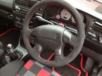 Golf MK3 Anniversary - Black alcantara 9040, Red stitching 2