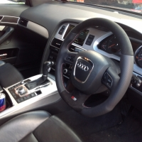 A4,A6,Q7 3 spoke s-line with paddles - modified + flat bottom, perforated sides, black alcantara top-bottom, silve and red stitching 2