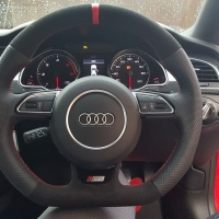 Audi A5 S-line - Perforated leather leather on sides, Black Alcantara topbottom + Red centre stripe, Red Stitching