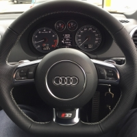 Audi S3 (with paddles)- Thicker, Perforated leather sides , Nappa top-bottom, Silver ( light grey) stitching
