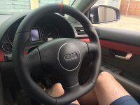 Audi A4 b6, TT mk1, S3 - Re-profiled + Flat bottom,  perforated leather on sides, nappa topbottom + darker red alcantara centre stripe at 12 o'clock, darker red stitching