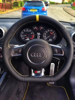 Audi S3 ( flat bottom with paddles)- slighlyt thicker (2mm), perforated leather sides, nappa top-bottom + yellow centre band, yellow stitching
