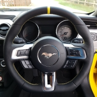 Mustang GT, 2017 – Thicker + Thumb Grips Added + Flat bottom, Perforated leather on sides, Nappa topbottom + Yellow stripe at 12 o'clock , Yellow stitching 1