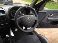Clio 172,182 - grey alcantara 9040 + white stripe at 12 stitched, white stitching